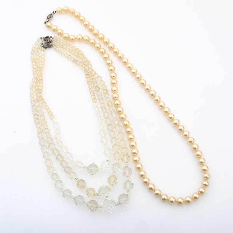 Pair of Vintage Beaded Necklaces with Sterling Closures
