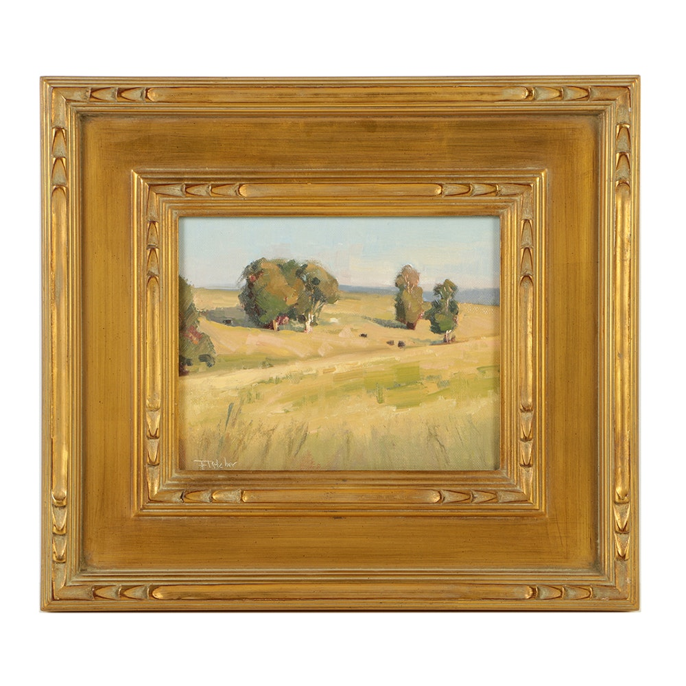 "Bill Fletcher Oil Painting on Canvas Board ""Distant Fields"""