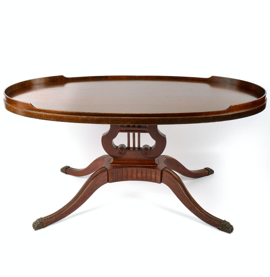 Oval Coffee Table Antique: Vintage Mersman Oval Lyre-Base Coffee Table : EBTH