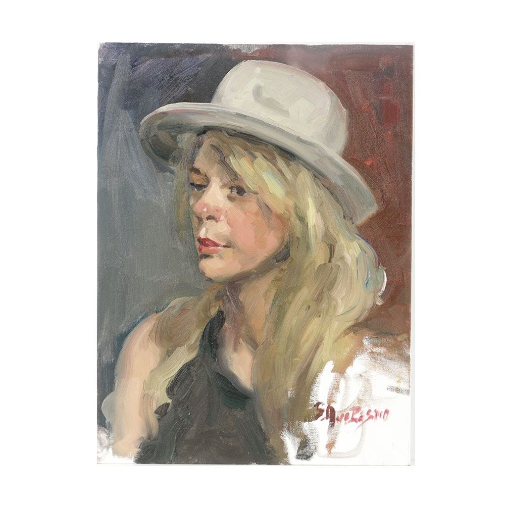 Bill Angresano Oil Painting on Canvas Board Portrait of a Woman
