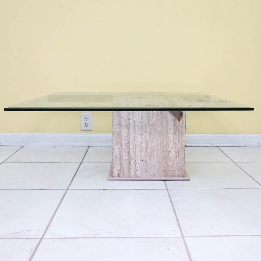 Modern Style Glass Top Marble Base Coffee Table Ebth