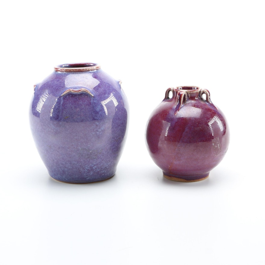 Pair Of Hand Thrown Stoneware Purple Vases Ebth