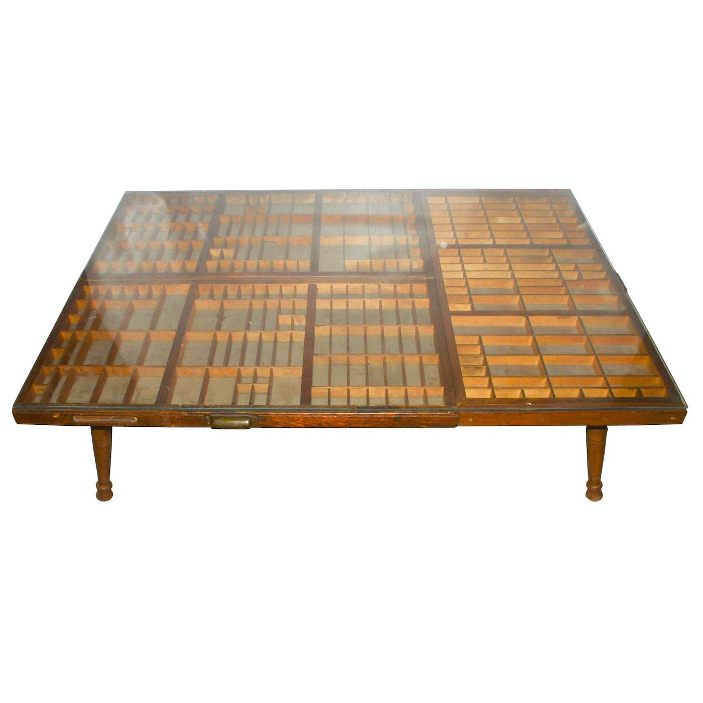 Unique Coffee Table Tray: Unique Repurposed Printer's Trays Glass-Top Coffee Table