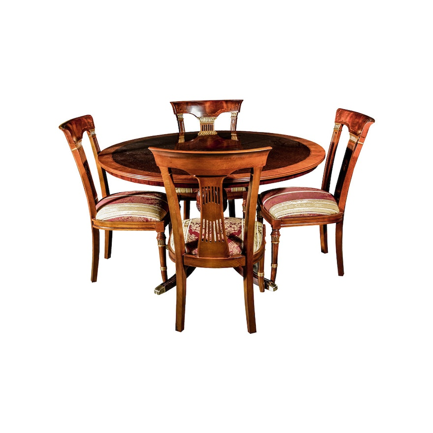 Mixed Wood Round Dining Table With Four Chairs EBTH - Round dining table with four chairs