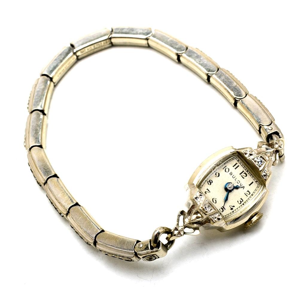 Women's Vintage Bulova 14K White Gold Diamond Watch Bracelet