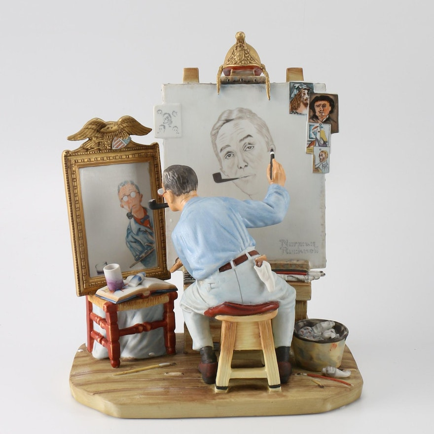 Limited Edition Gorham Norman Rockwell Quot Self Portrait