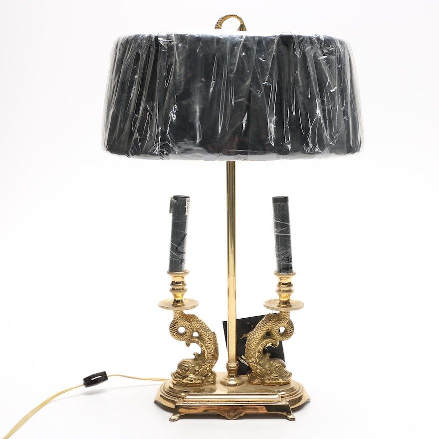 Candelabra style brass table lamp by oriental accent