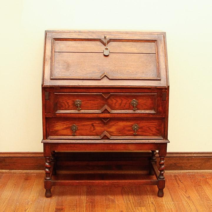 Antique English Red Oak Jacobean Revival Slant Lid Secretary