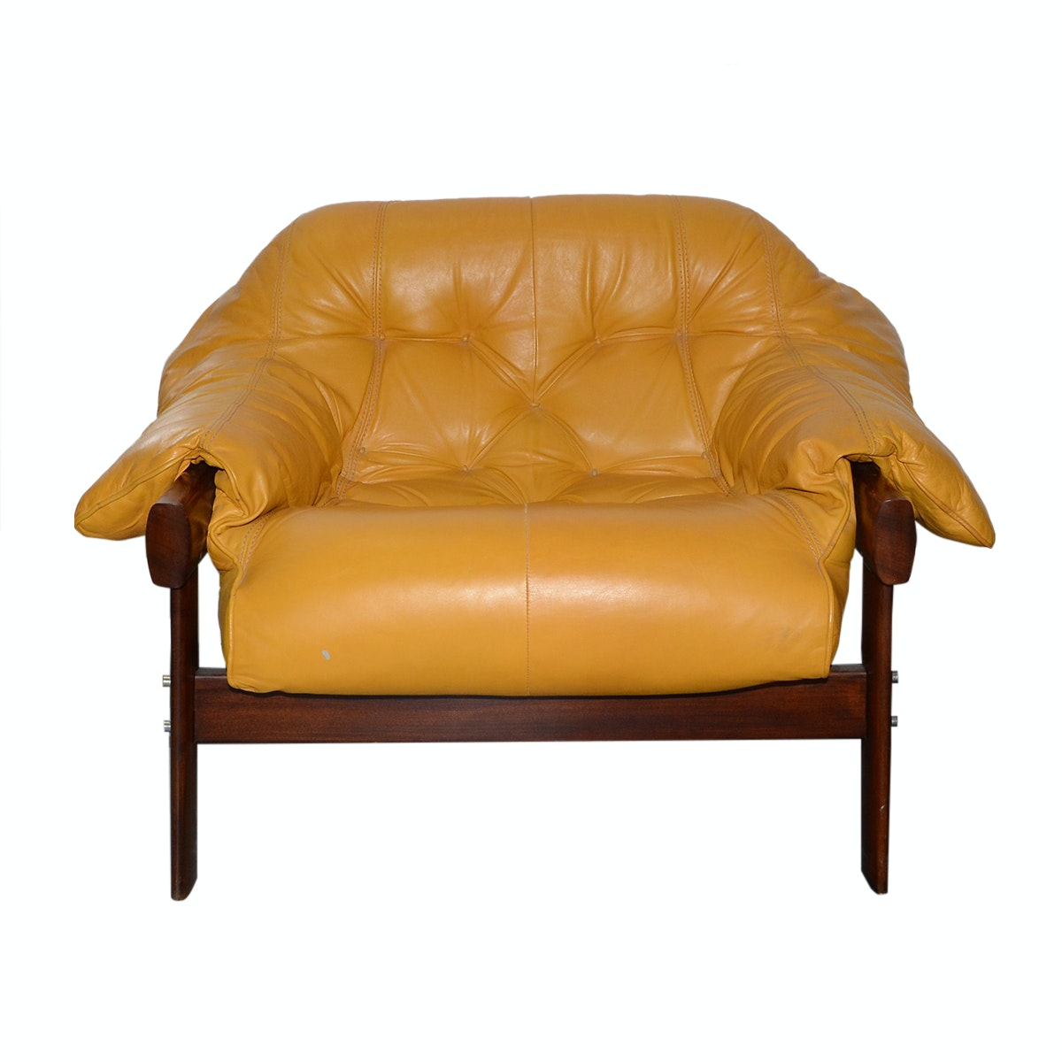 Mid Century Modern Yellow Leather Armchair by Percival Lafer