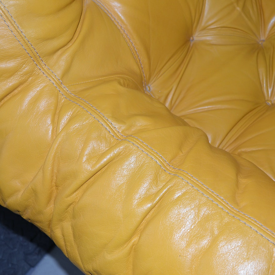 Percival Lafer Rosewood And Distressed Tufted Yellow: Mid Century Modern Yellow Leather Armchair By Percival