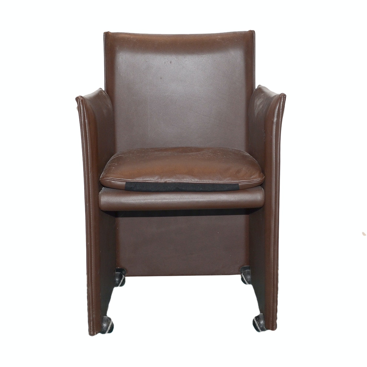 Modernist Style Brown Leather Armchair by Cassina