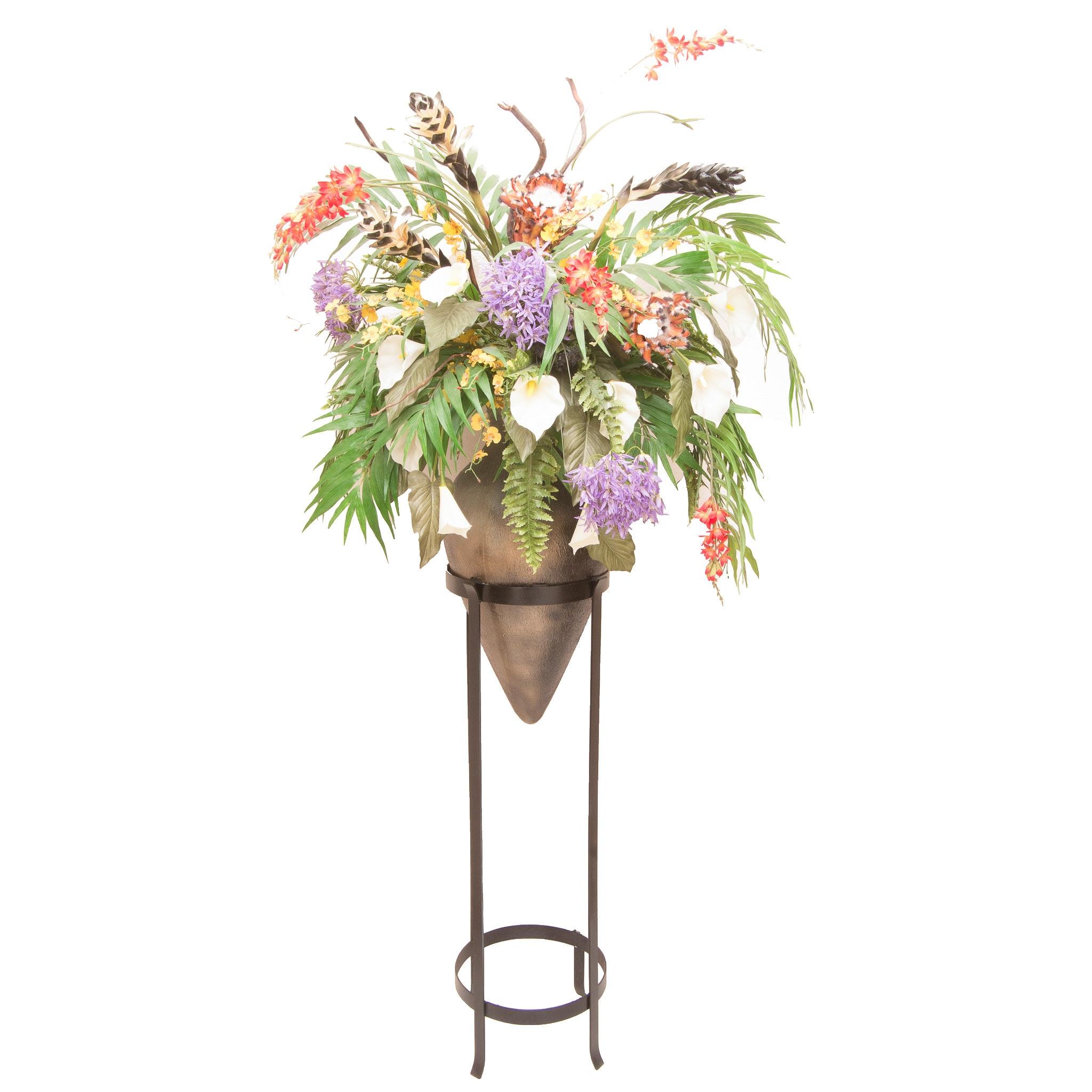 Large Metal Base Planter and Artificial Flower Arrangement