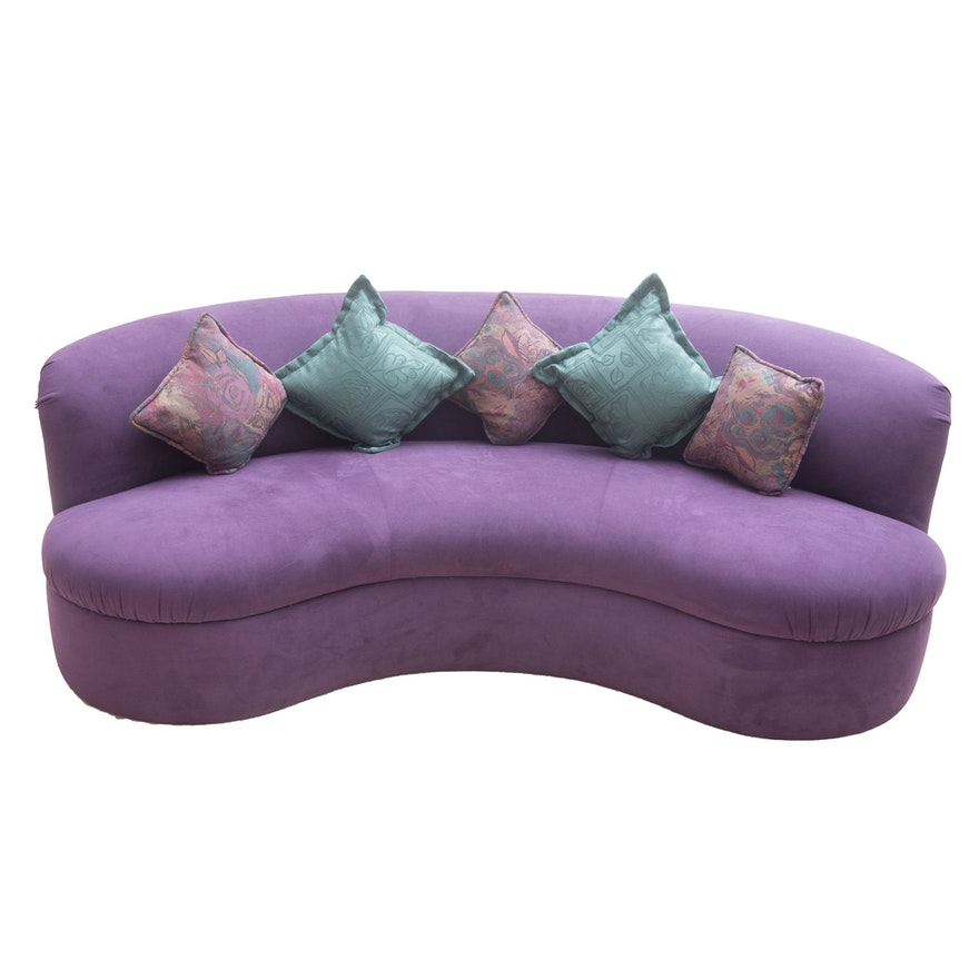 Modern Purple Kidney Shaped Sofa
