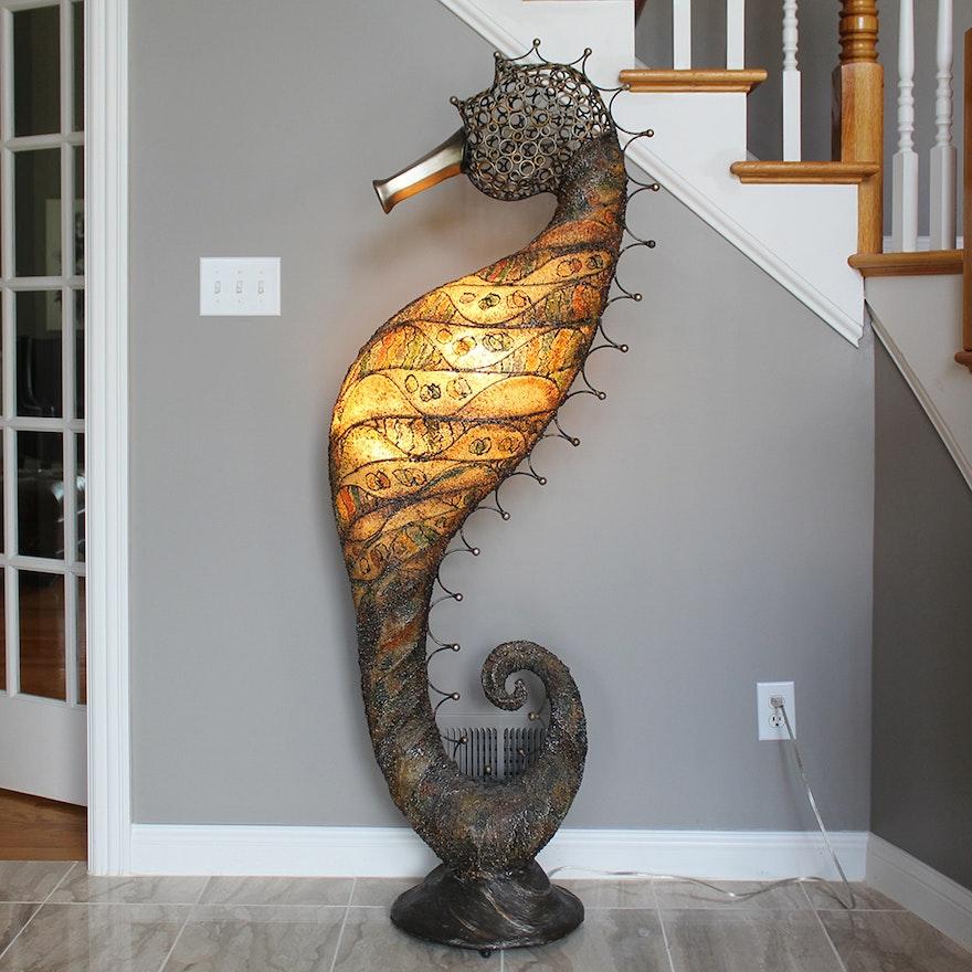 seahorse ceramic lamp white