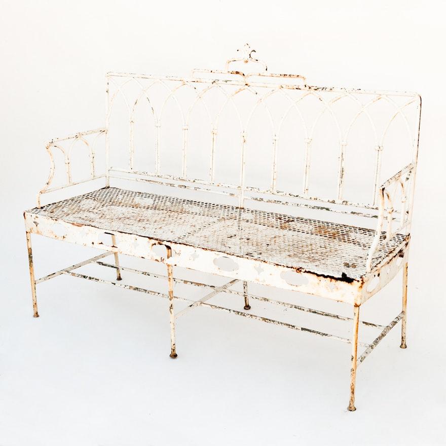 Pleasant Vintage Gothic Style Iron Patio Bench Theyellowbook Wood Chair Design Ideas Theyellowbookinfo