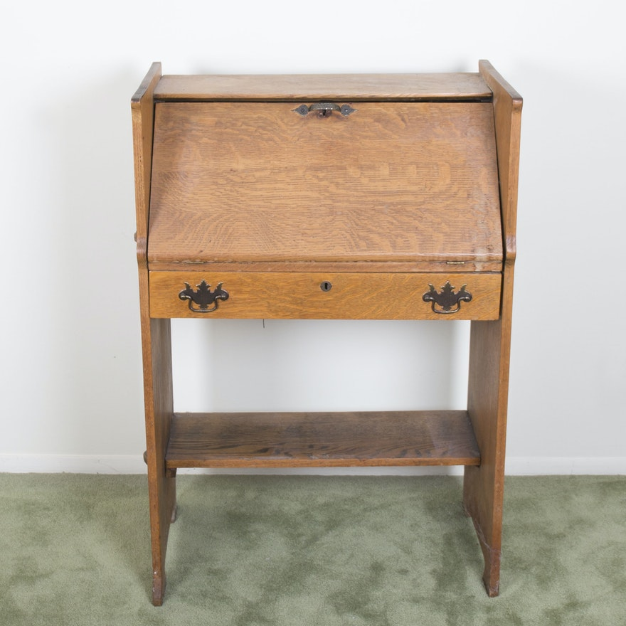 Vintage Oak Secretary Desk ... - Vintage Oak Secretary Desk : EBTH