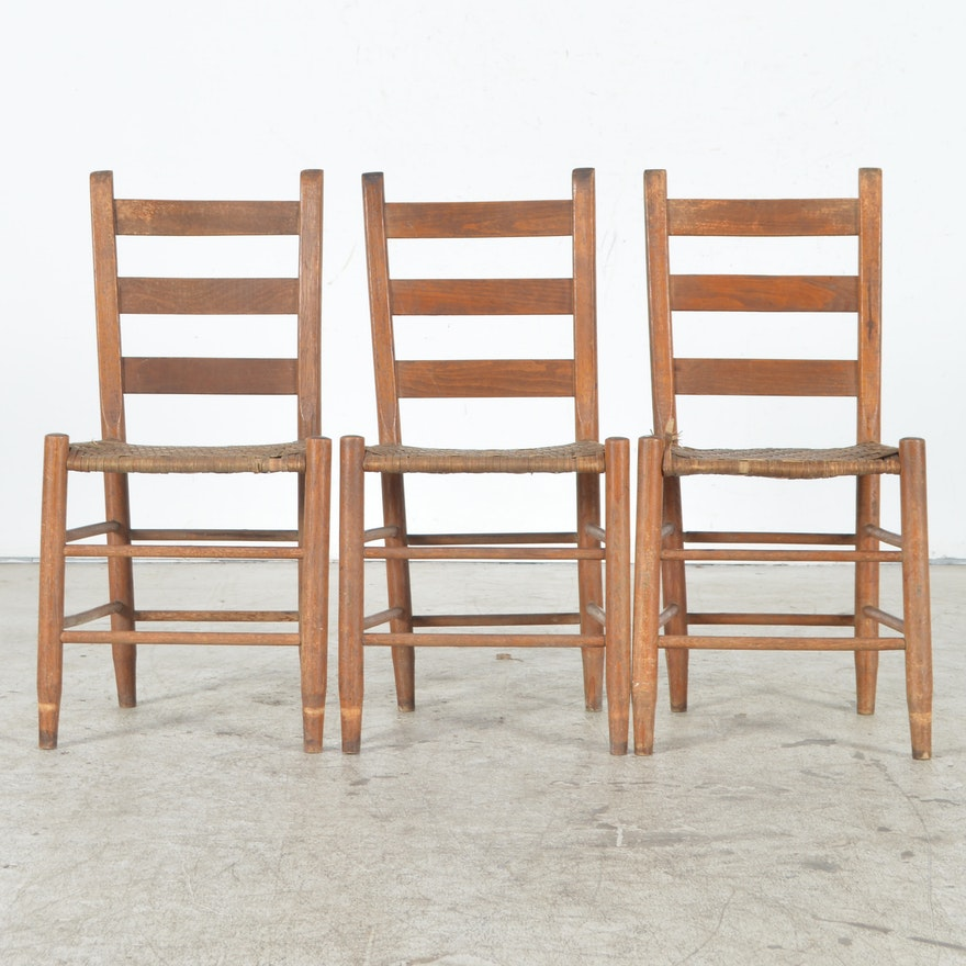 Antique Ladder Back Chairs with Cane Woven Seats ... - Antique Ladder Back Chairs With Cane Woven Seats : EBTH