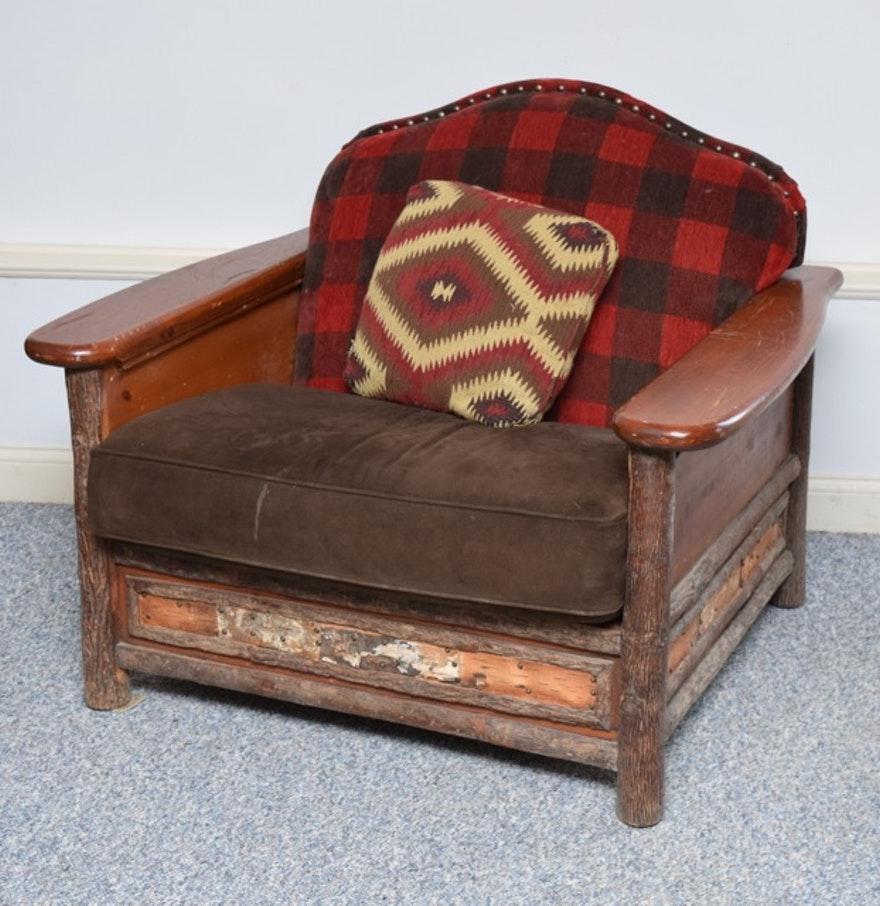 Rustic Style Upholstered Armchair By Old Hickory Furniture Company - Old hickory furniture