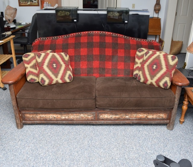 Rustic Style Upholstered Sofa By Old Hickory Furniture Company ...