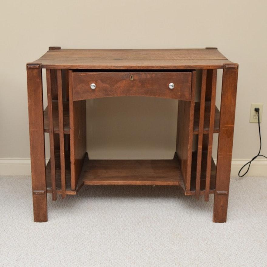Vintage Mission Style Oak Desk ... - Vintage Mission Style Oak Desk : EBTH