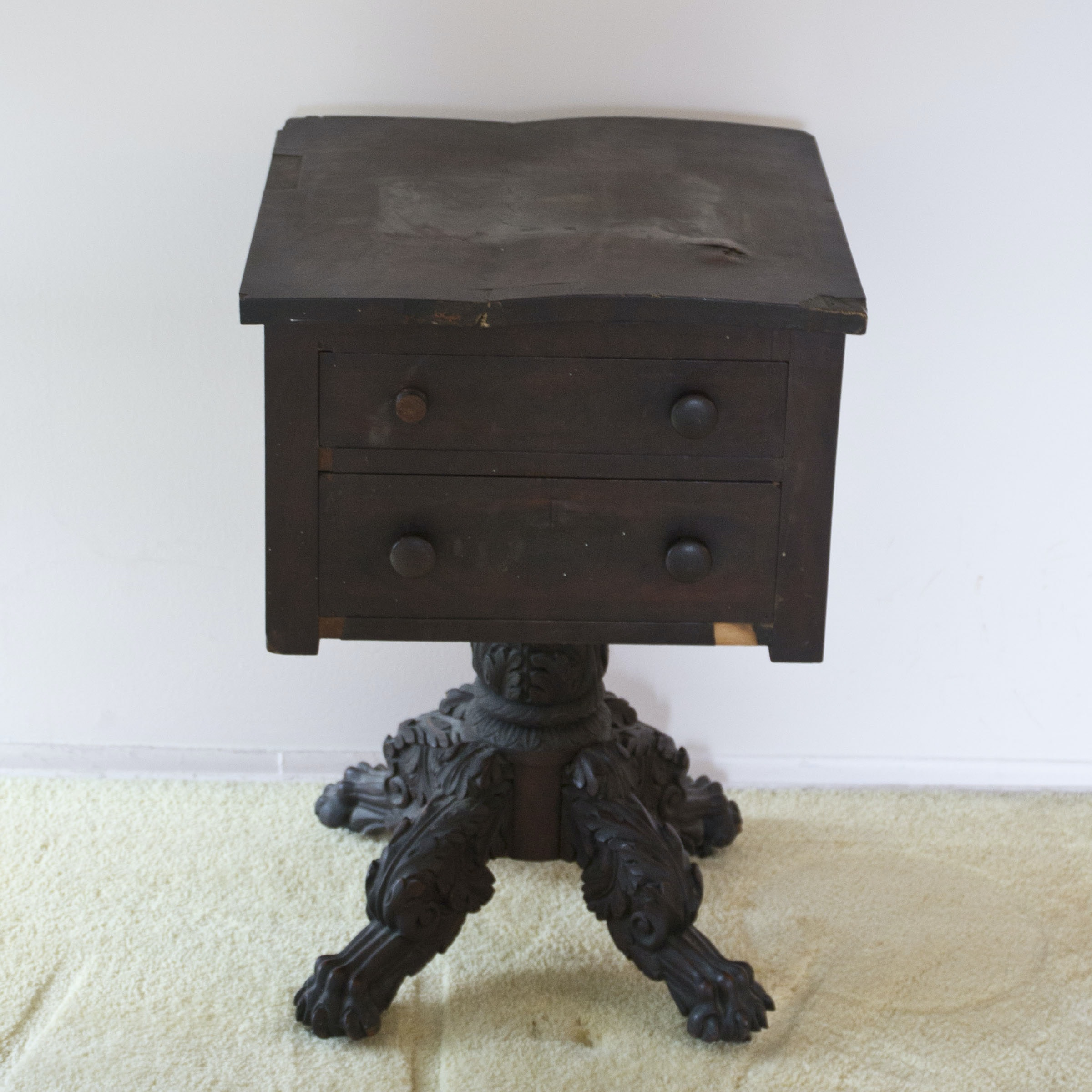Antique Rococo-Style Pedestal Table With Drawers