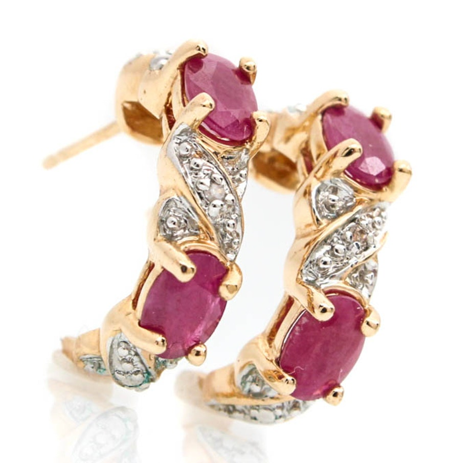 14k Yellow Gold Diamond And Natural Ruby Earrings