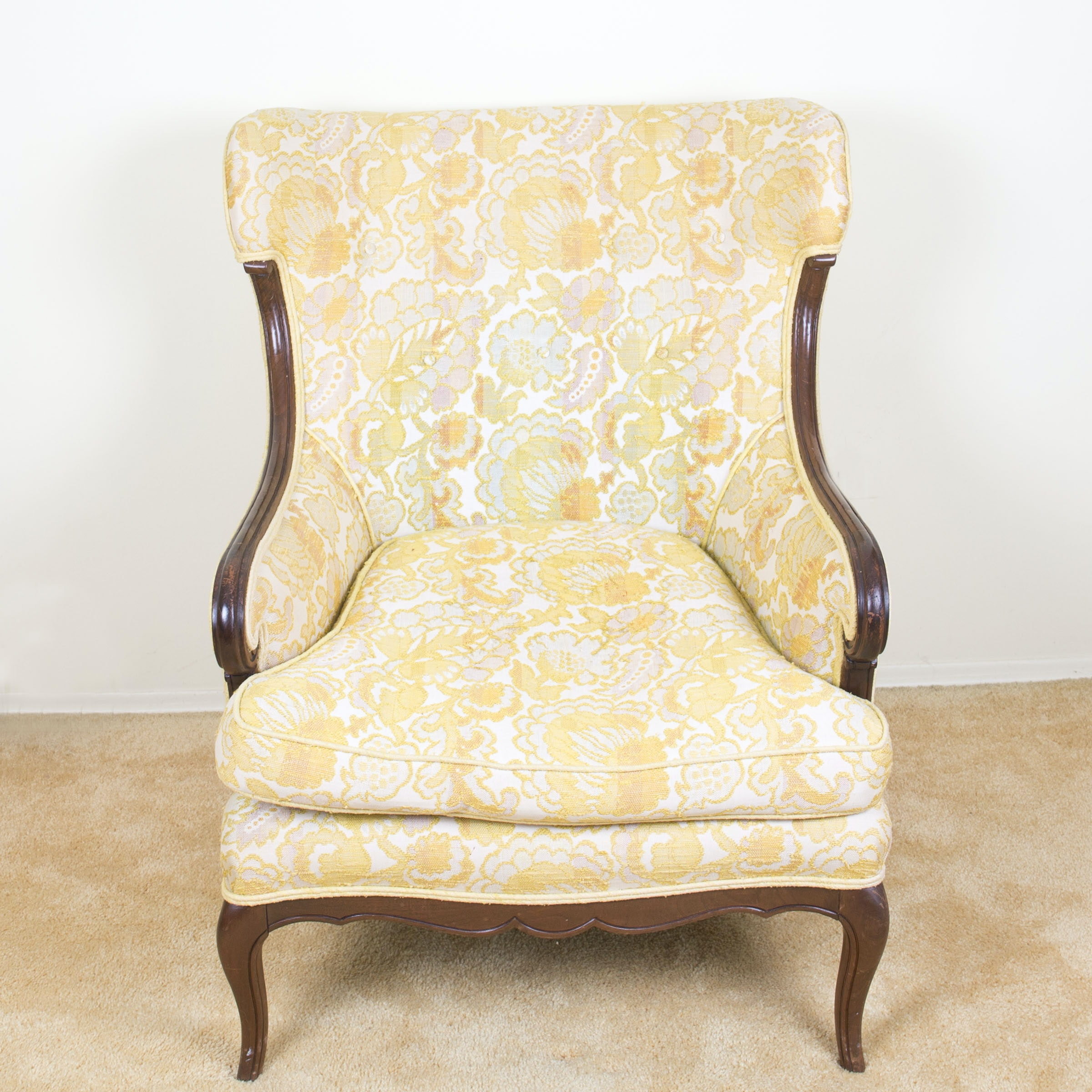 Vintage Bergere Chair with Yellow Floral Upholstery