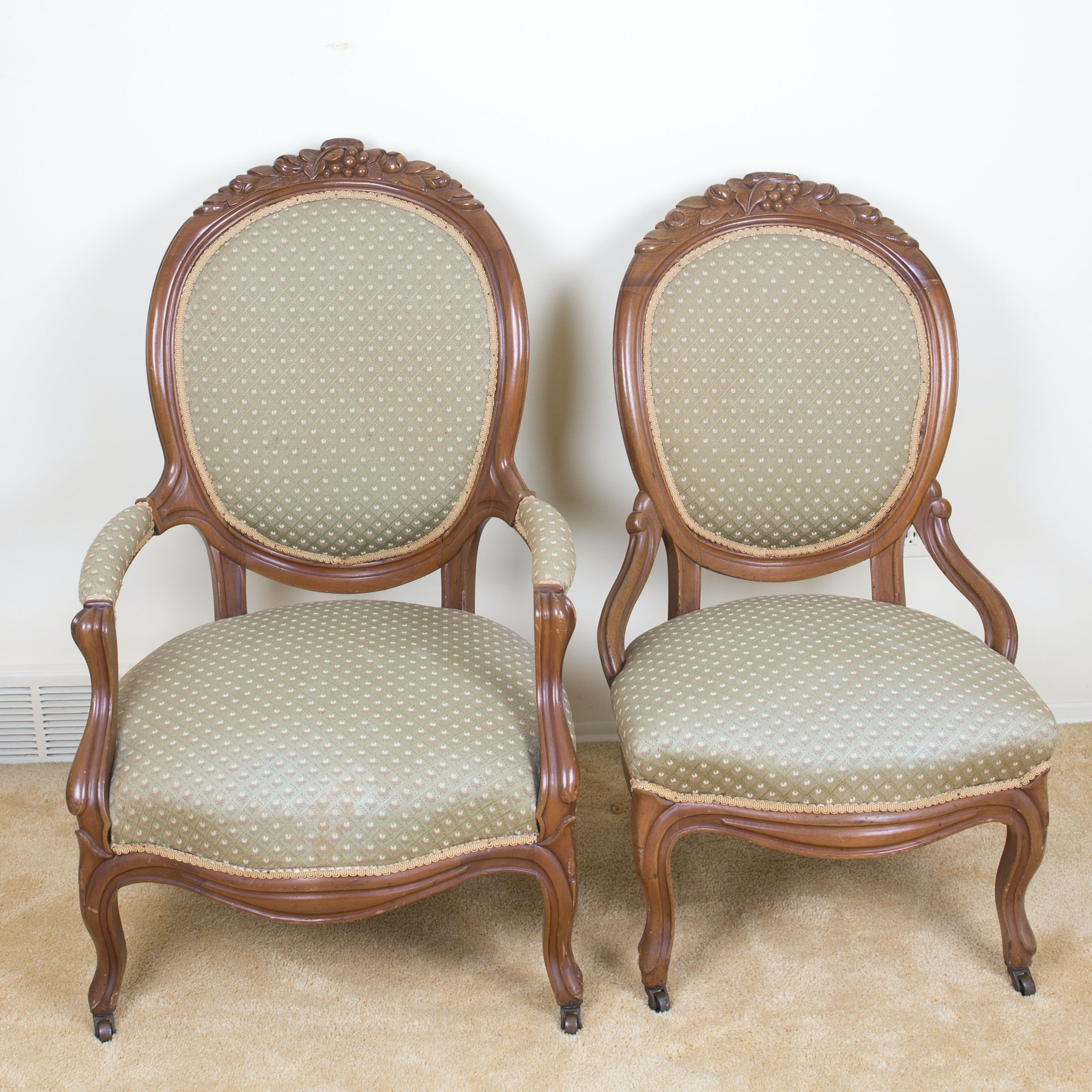 Pair of Victorian-Style Balloon Back Chairs