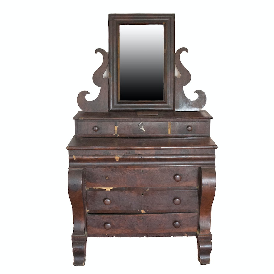 Antique American Empire Style Gentleman S Chest With Mirror
