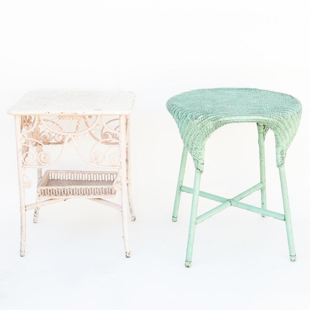 Vintage Wicker Side Tables