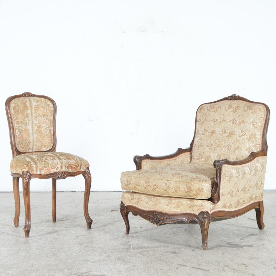 Louis XIV Style Upholstered Chaise Lounge And Side Chair EBTH