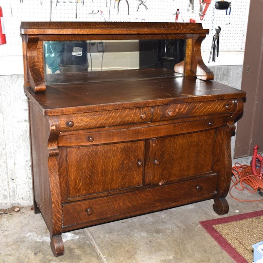 Antique Tiger Oak Buffet ... - Antique Tiger Oak Buffet : EBTH