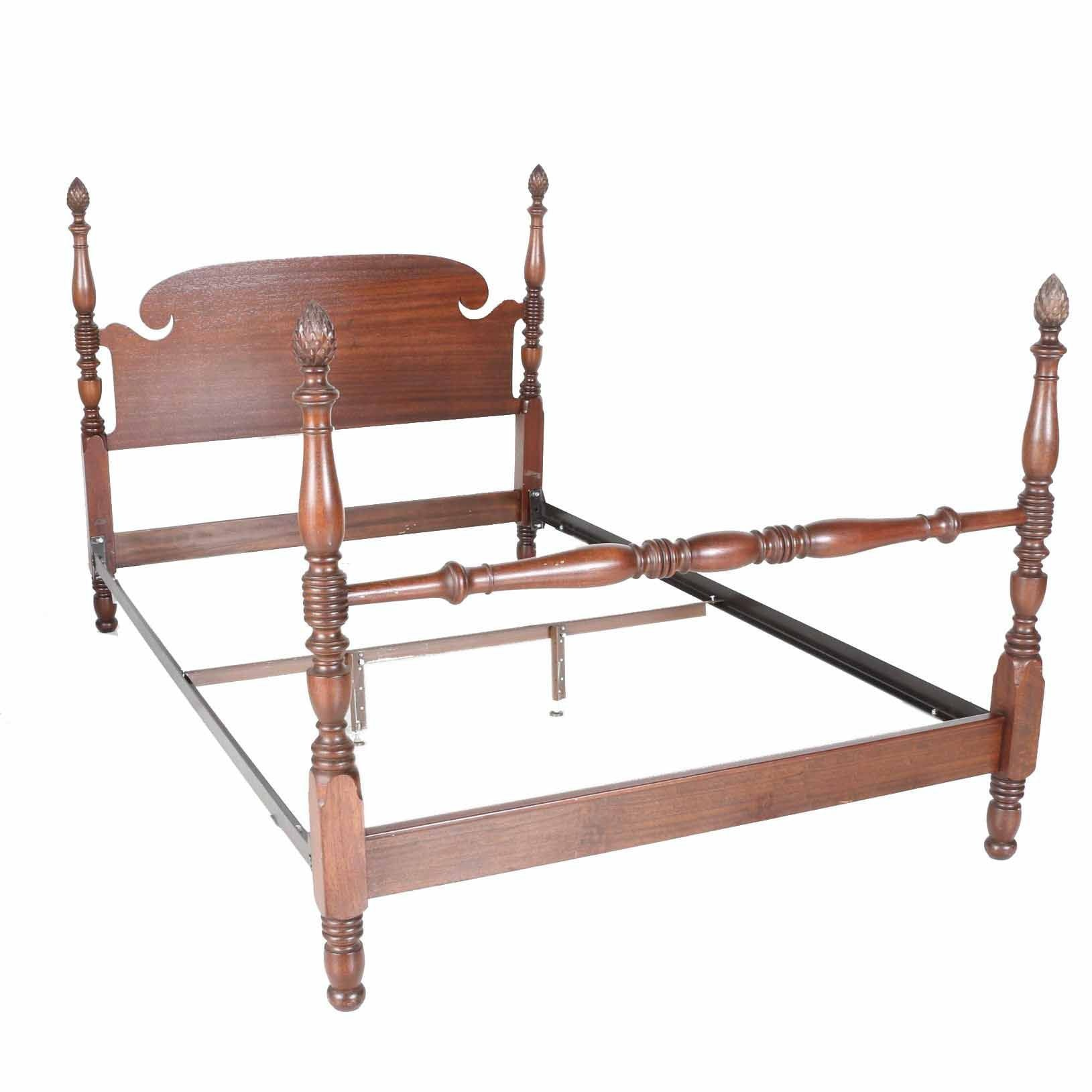 sc 1 st  Everything But The House & Mahogany Finished Queen Size Four Poster Bed WIth Pinecone Finials ...