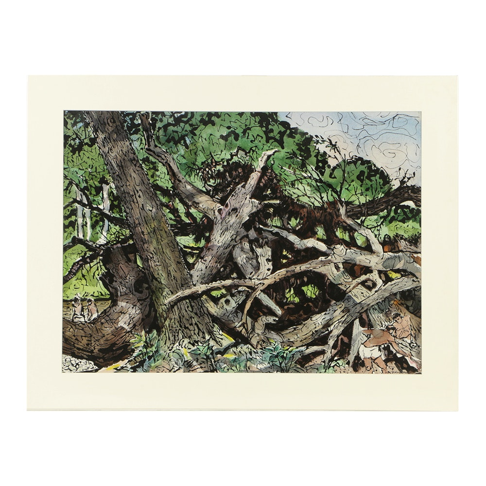 Carl Zimmerman Watercolor Painting on Paper of Overgrown Forest