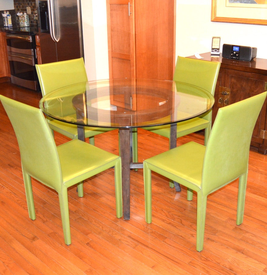 Crate and barrel dining room table - Crate Barrel Glass Dining Table And Folio Leather Chair Set