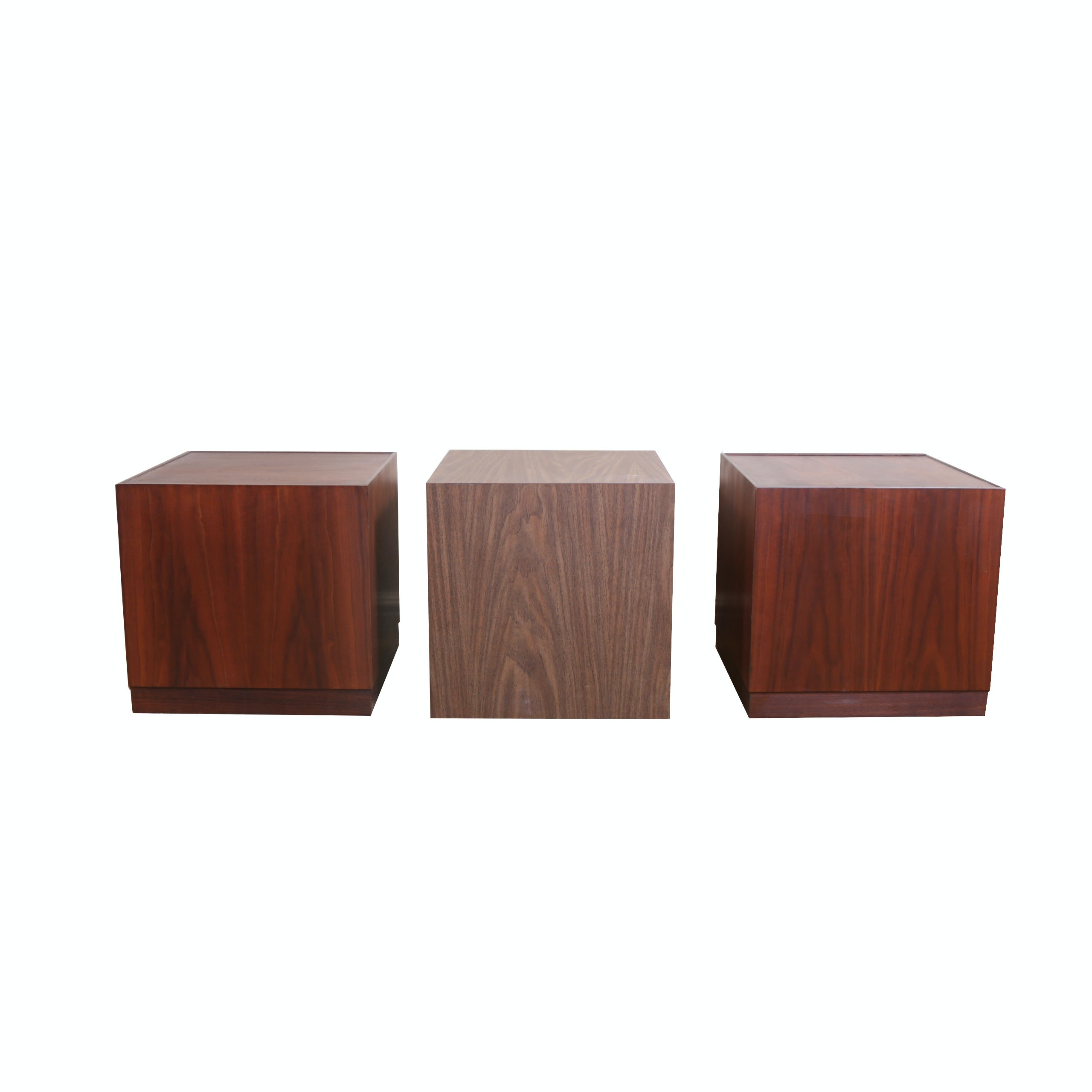 Mid 20th Century Wooden Cube Accent Tables