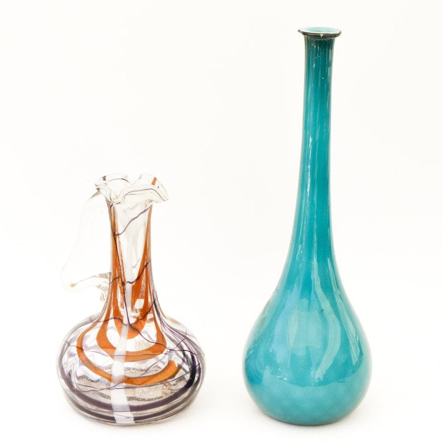 Pair Of Contemporary Glass Vases Ebth