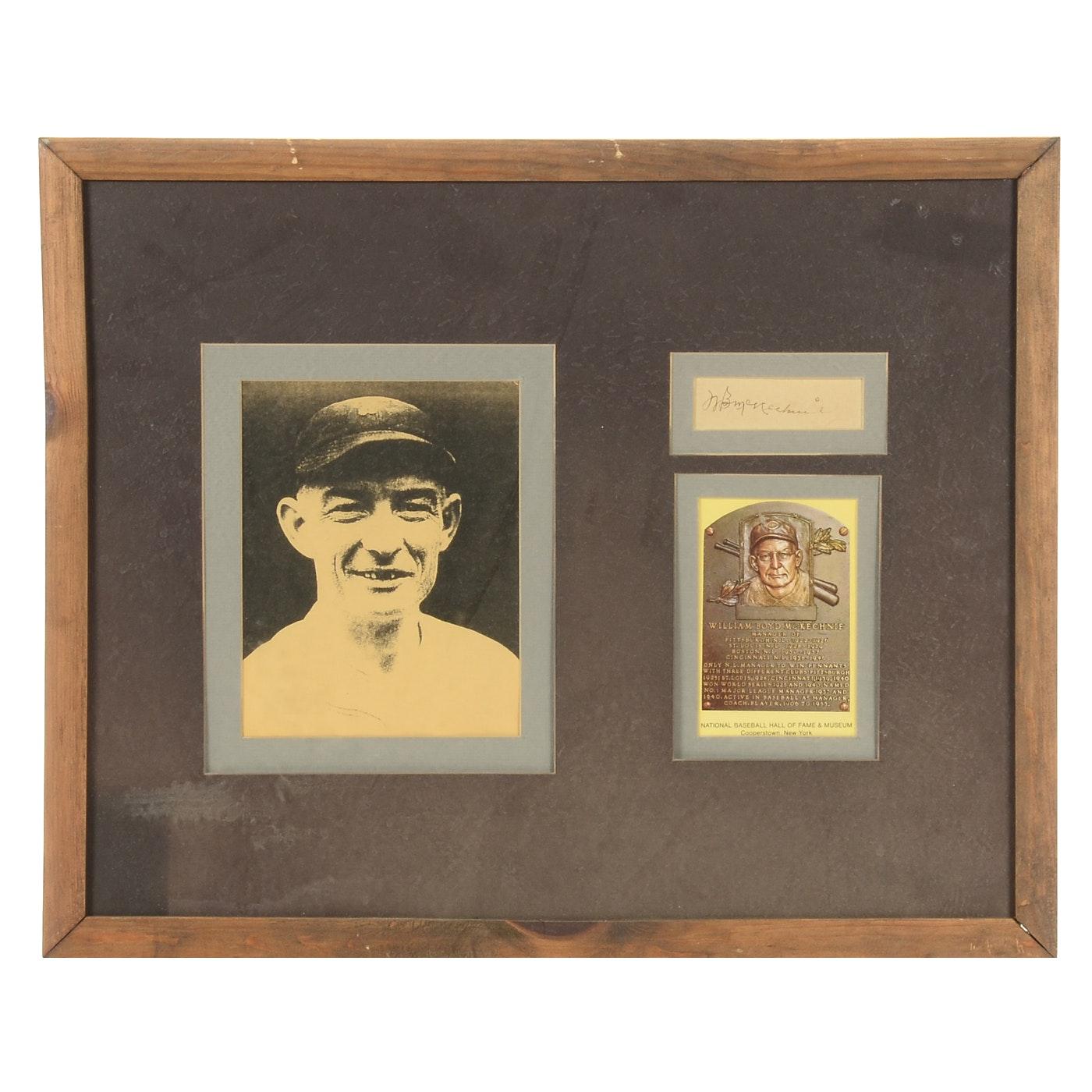 "William ""Bill"" McKechnie Signed Framed Baseball Display"