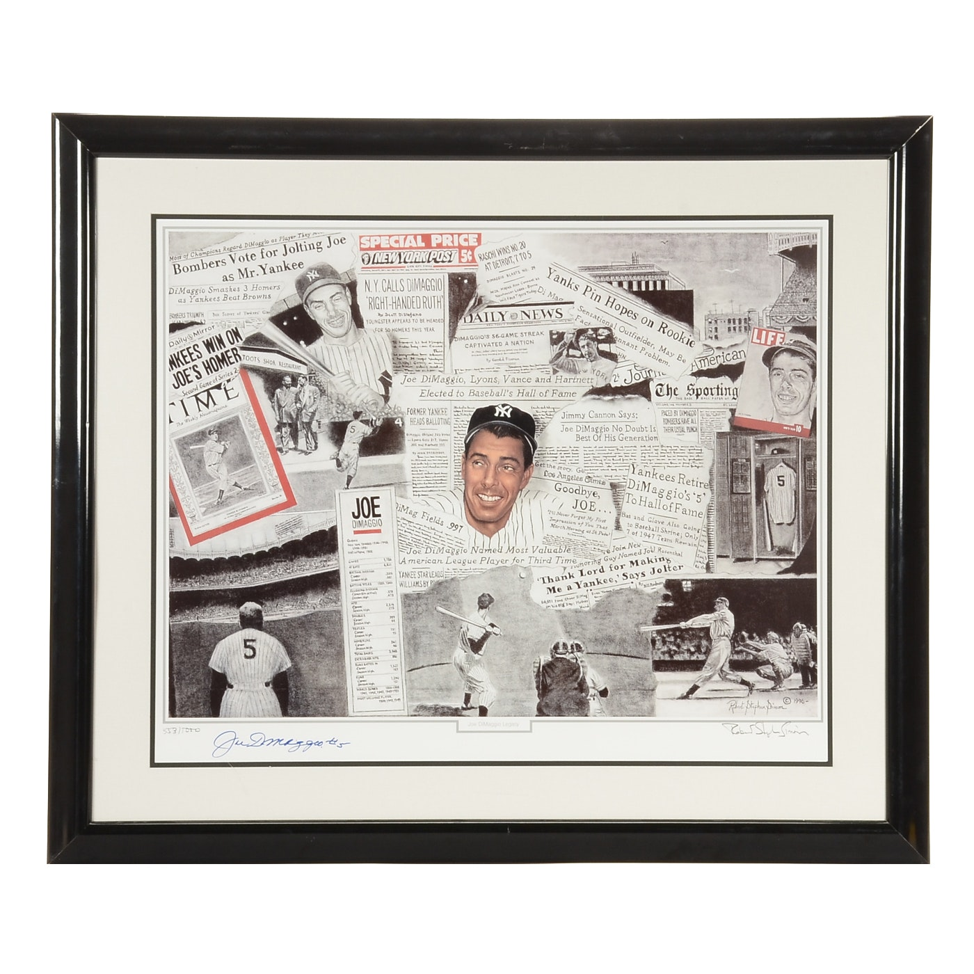 Joe DiMaggio Signed New York Yankees Framed Lithograph