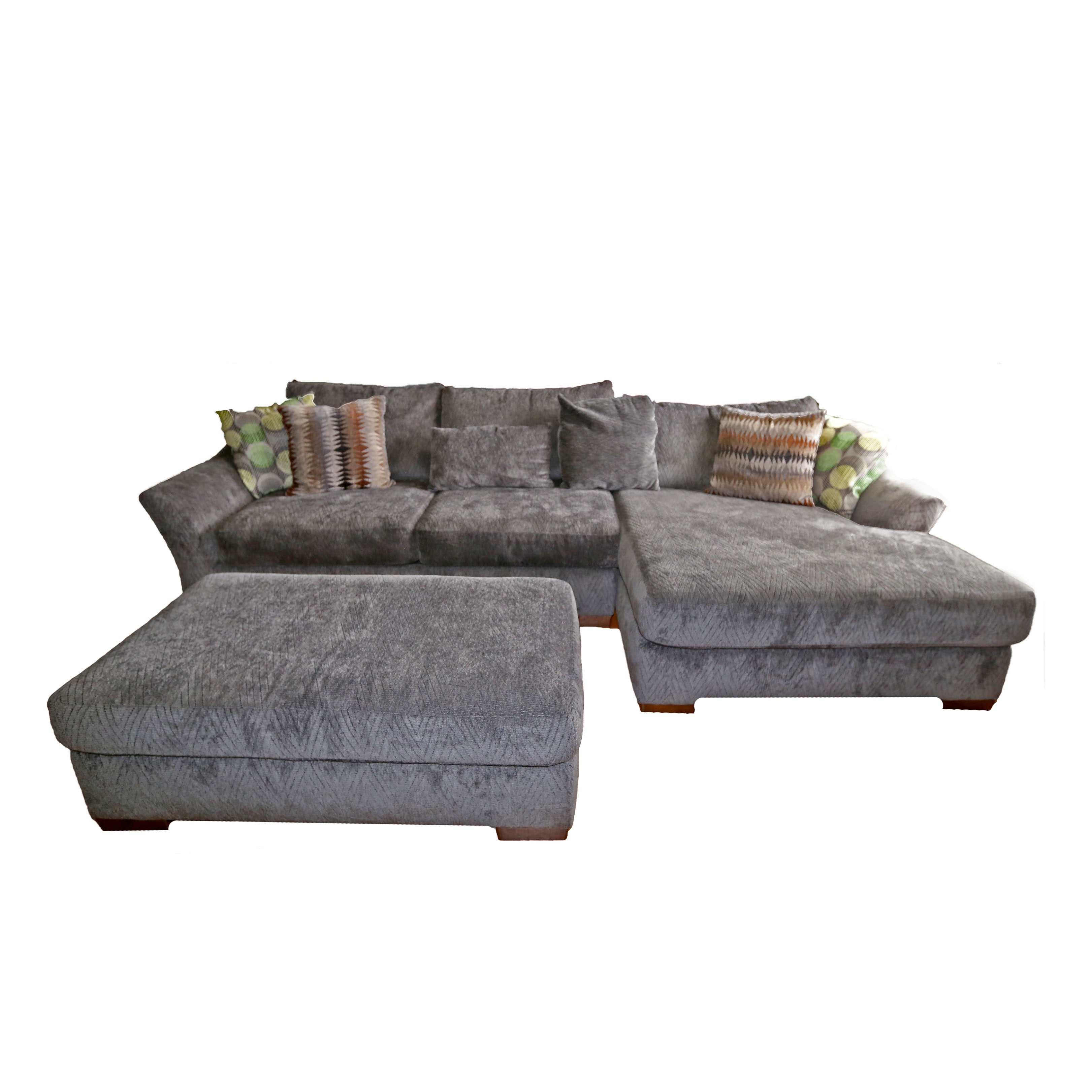 Bluish Gray Sectional Sofa And Ottoman By Kroehler ...