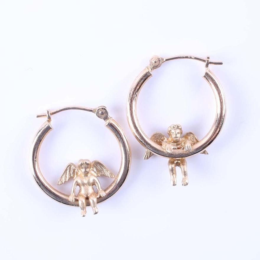 14k Yellow Gold Angel Hoop Earrings