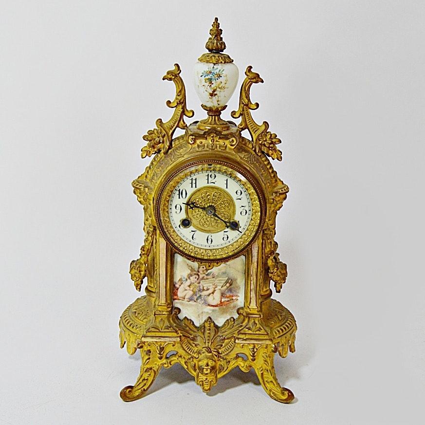 antique waterbury french rococo style ormolu mantle clock - Mantle Clock