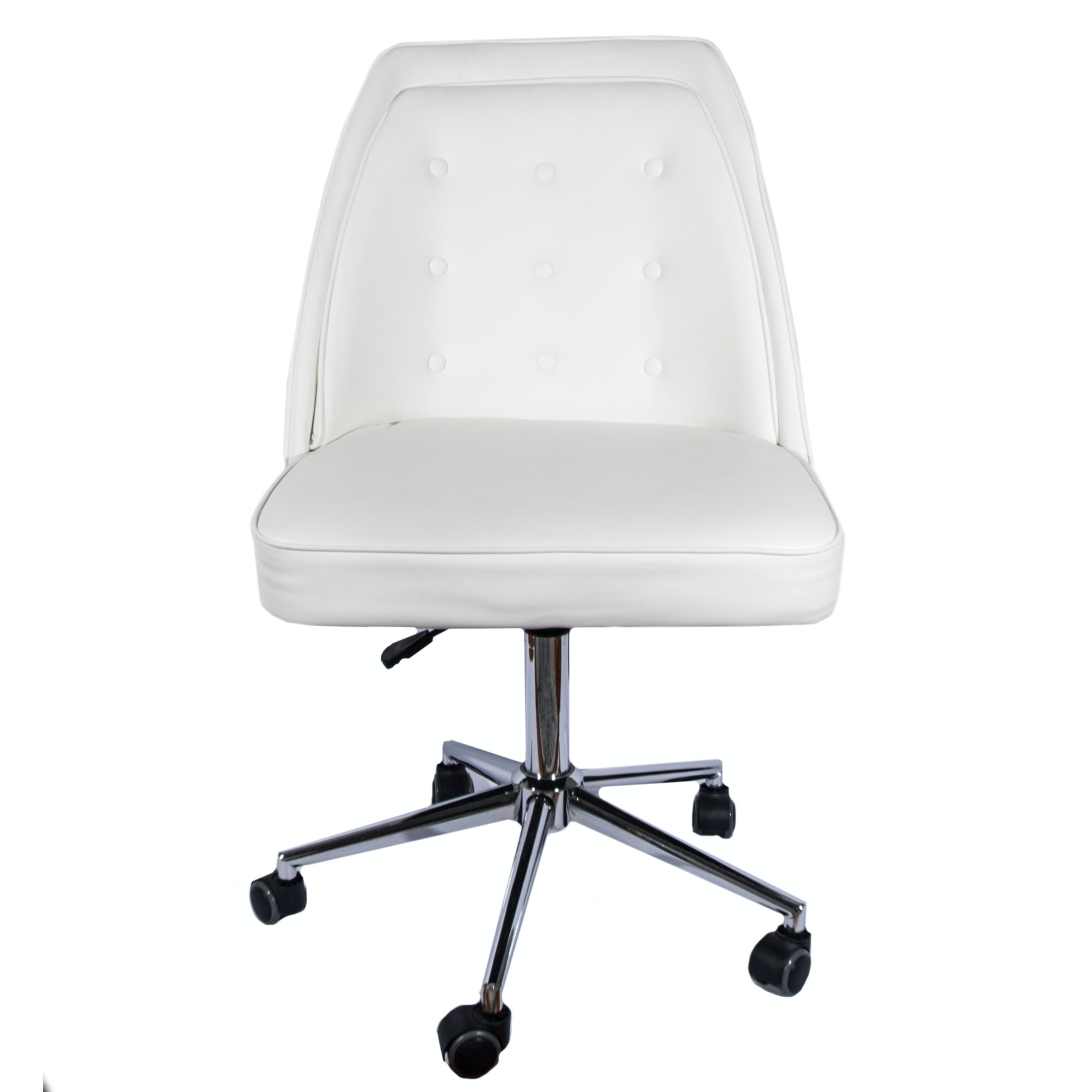 White Leather Rolling Desk Chair by Tainoki - rolling office chair
