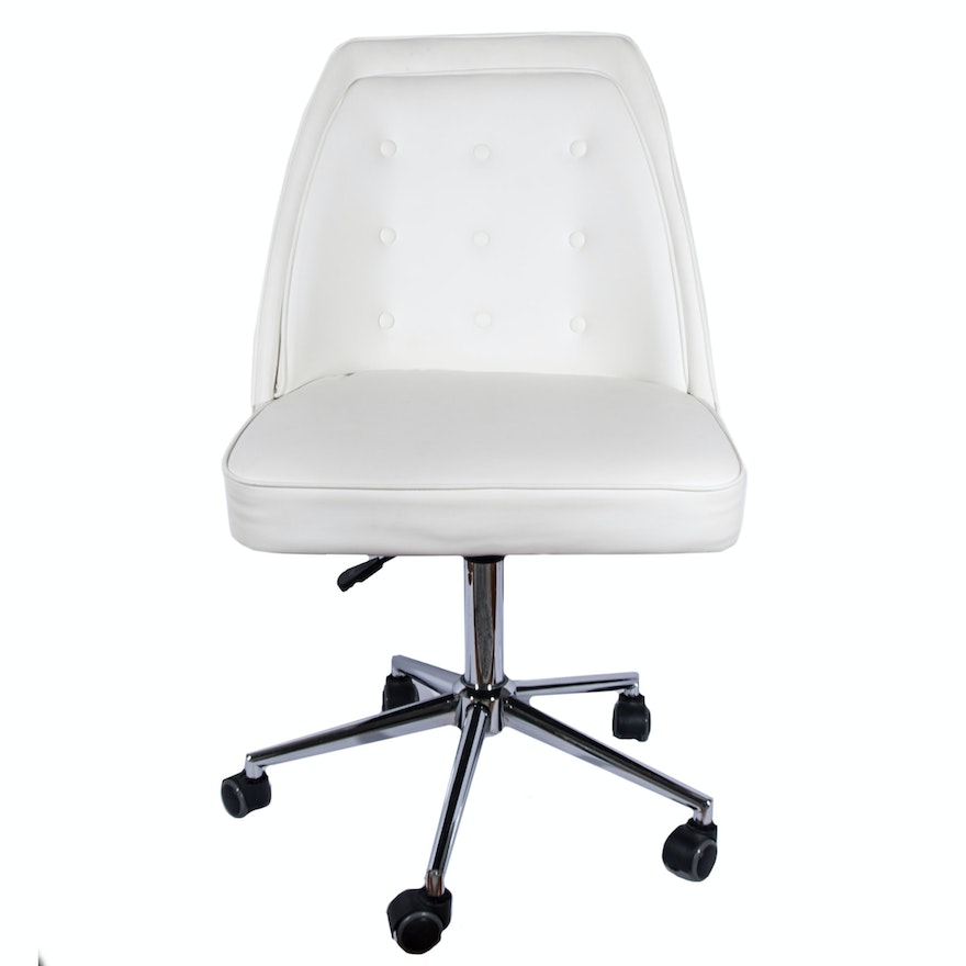 White leather rolling desk chair by tainoki ebth for Desk chair white leather