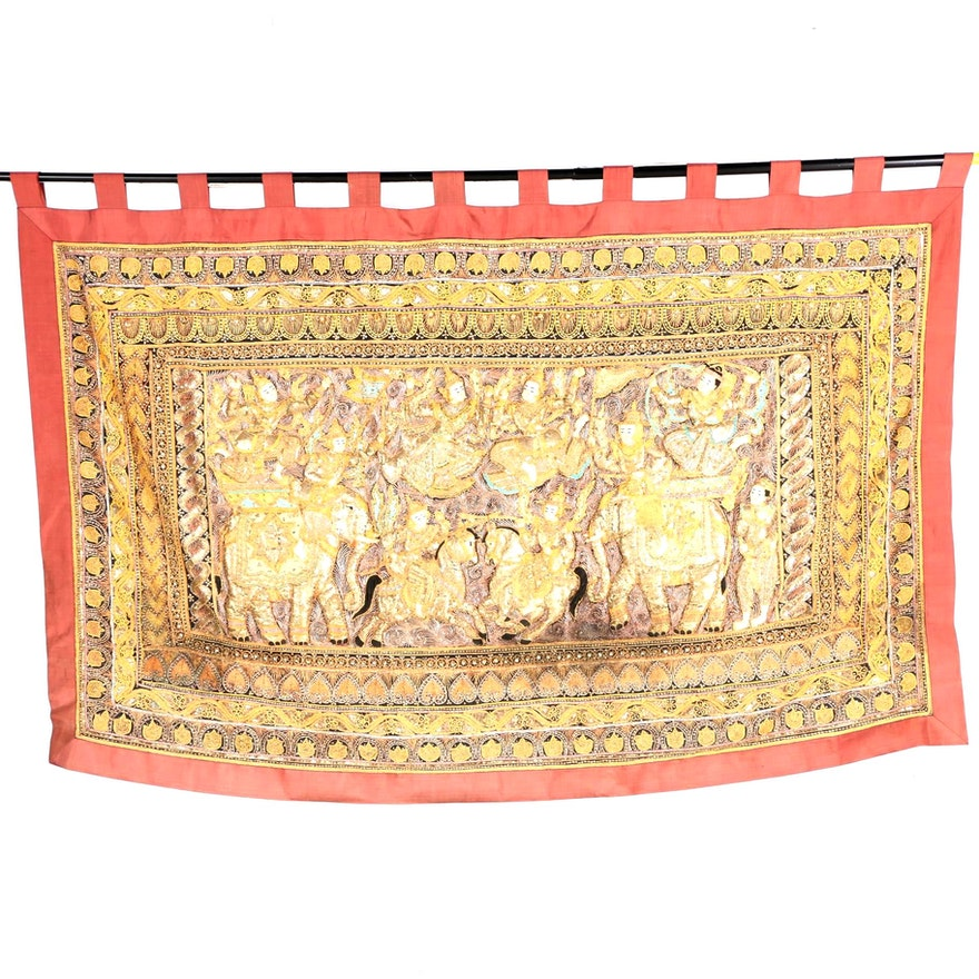 Embroidered Burmese Style Kalaga Tapestry Wall Hanging : EBTH