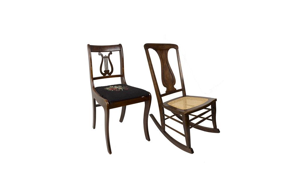 Regency Style Mahogany Chair and Walnut Cane Seat Rocker