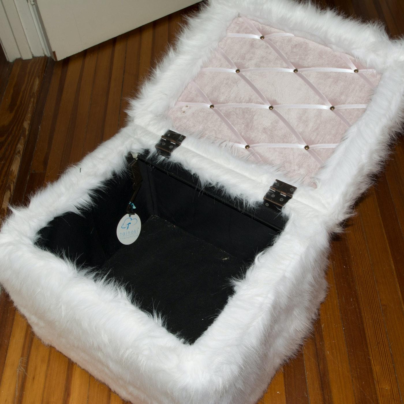 White Faux Fur Storage Ottoman Ebth