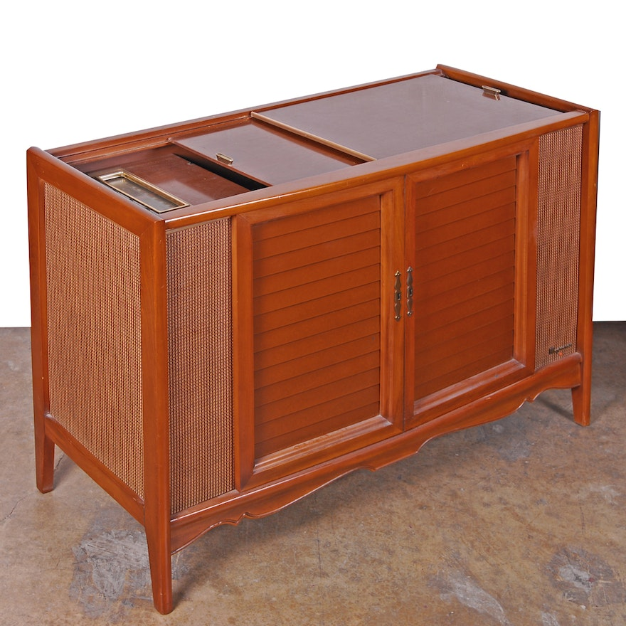 Vintage Cherry Magnavox Stereo Console