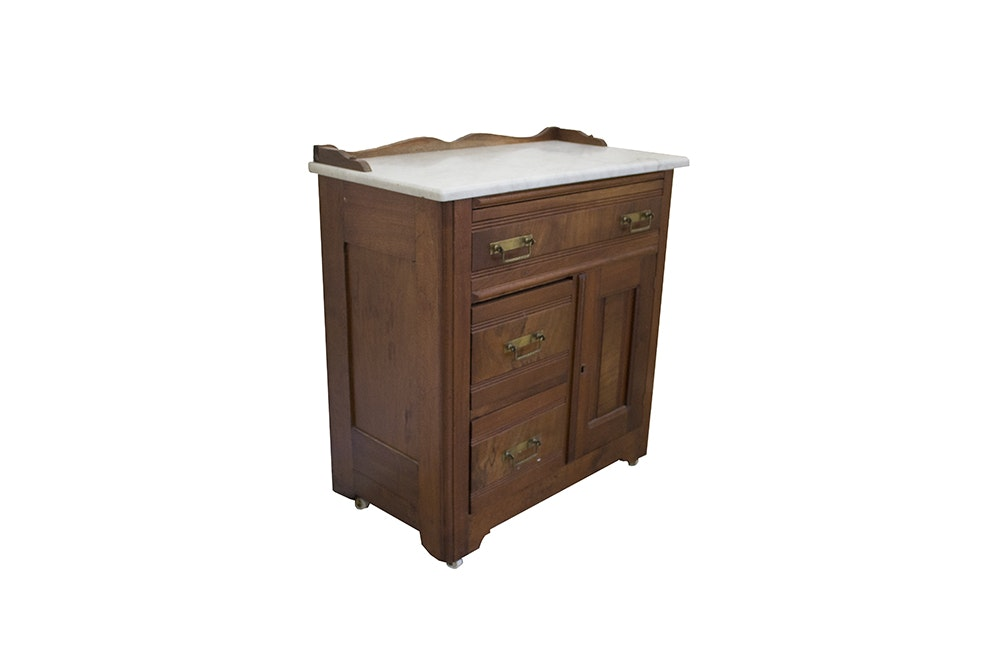 Antique Walnut Washstand With a Marble Top