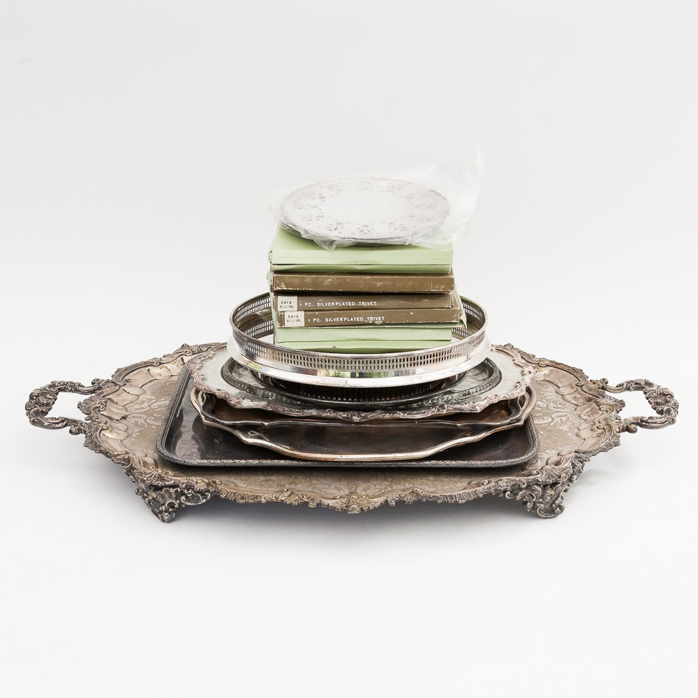 Silver Plated Tray and Trivets